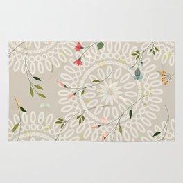 Flowers and abstract mandala Rug