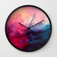 red hood Wall Clocks featuring Reassurance by Caleb Troy