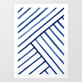 Watercolor lines pattern | Navy blue Art Print