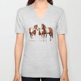 Chestnut Pinto Paint Horses In Snow Unisex V-Neck