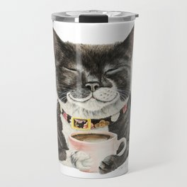 Purrfect Morning , cat with her coffee cup Travel Mug