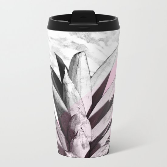 Pineapple Top Marble Pastel Pink Metal Travel Mug