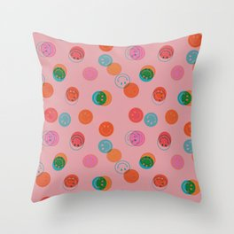 Smiley Face Stamp Print in Pink Throw Pillow