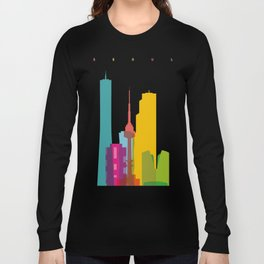 Shapes of Seoul accurate to scale Long Sleeve T-shirt