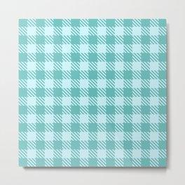 Plaid Pattern 513 Blue and Green Metal Print