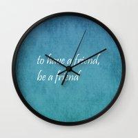 friendship Wall Clocks featuring Friendship by Lyle Hatch