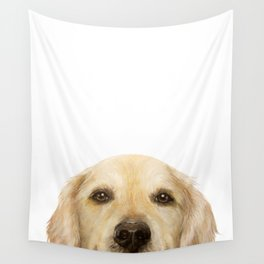 Golden retriever Dog illustration original painting print Wall Tapestry