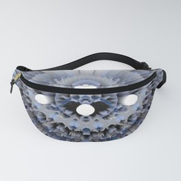 3D layers of mandala in blue-white-grey-black Fanny Pack