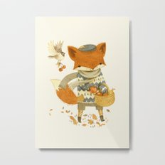 Fritz the Fruit-Foraging Fox Metal Print