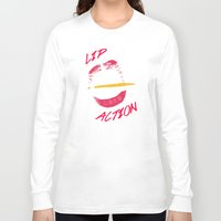 lip Long Sleeve T-shirts featuring Lip Action by Kidney Theft
