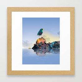 Green bird Framed Art Print