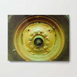 Old Tractor Tire Metal Print