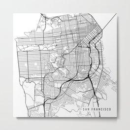 San Francisco Map, USA - Black and White Metal Print