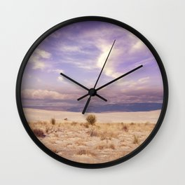 Desert Sunset in  the White Sands National Monument in Alamogordo, New Mexico. Wall Clock