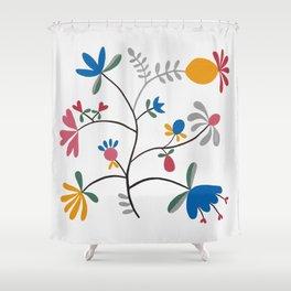 Kurbits – Flower – Blue Bell – Scandinavian Folk Art Shower Curtain