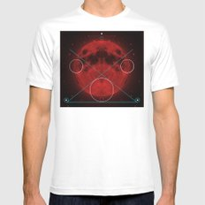 Red Moon Graphish. MEDIUM White Mens Fitted Tee