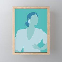 Figurative in blue feminism Framed Mini Art Print