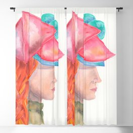 Girl with a Pink Hat: Watercolor Profile Painting of Red Haired Woman in Hat Blackout Curtain