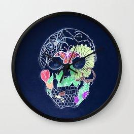 Chalk Art Skull Wall Clock