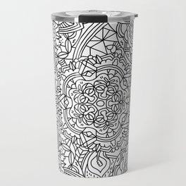 Detailed Mandala Frenzy Black and White Travel Mug
