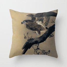 Hawk Traditional Japanese Wildlife Throw Pillow