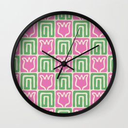 Mid Century Flower Garden Pattern 381 Pink and Green Wall Clock
