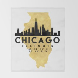 CHICAGO ILLINOIS SILHOUETTE SKYLINE MAP ART Throw Blanket