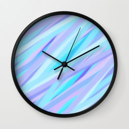 Pastel Pink, Purple, and Light Blue Stripes Wall Clock