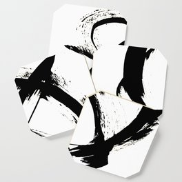 Brushstroke [7]: a minimal, abstract piece in black and white Coaster