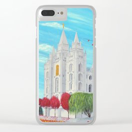 Salt Lake City, Utah LDS Temple in Autumn Clear iPhone Case