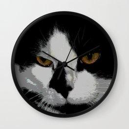 Black white cat II Wall Clock