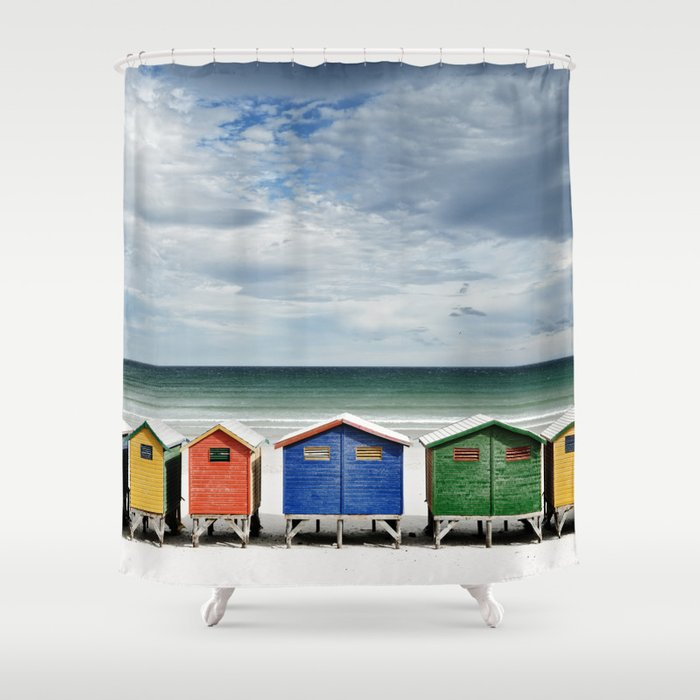 Beach Huts - Colorful houses and Sea, Cape Town, South Africa Shower Curtain