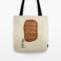 kendrick lamar Tote Bags featuring Kendrick Lamar; What Rappers Say Series 7/8 by Jaron Lionel