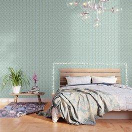 Blue Mint Gold Sea Shells Wallpaper