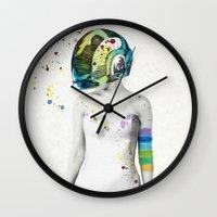 robot Wall Clocks featuring Robot Rock #2 by Jenny Liz Rome
