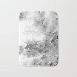 CHERRY BLOSSOMS GRAY AND WHITE Bath Mat