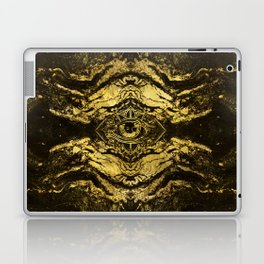 All Seeing eye golden texture on aged wood Laptop & iPad Skin