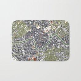 Rome city map engraving Bath Mat