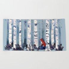 The Birches (in Blue) Beach Towel