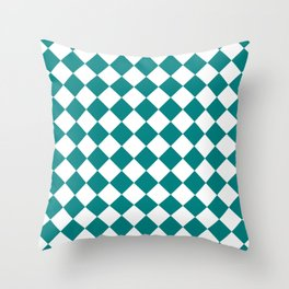 Diamonds - White and Dark Cyan Throw Pillow