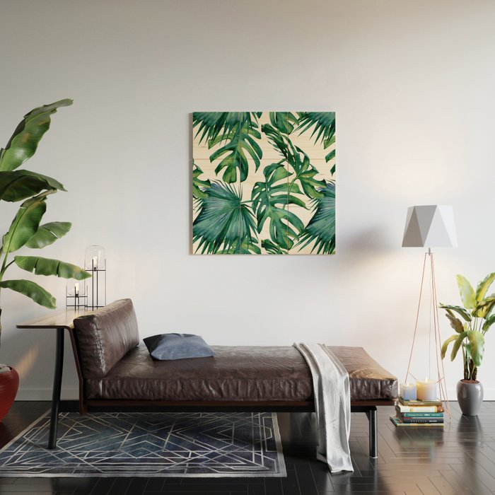 Classic Palm Leaves Tropical Jungle Green Wood Wall Art by ...