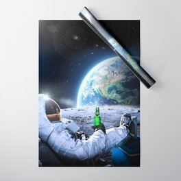 Astronaut on the Moon with beer Wrapping Paper