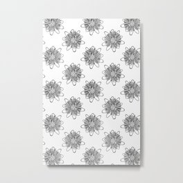 Passionflower Black and White Flower Illustrated Print Metal Print