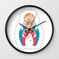 family Wall Clocks featuring Family  by Michela Gaburro