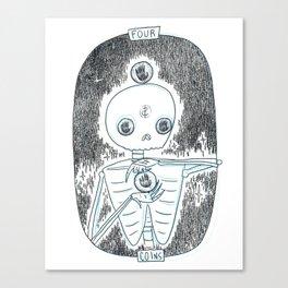 Four of Coins Skeleton Tarot Canvas Print
