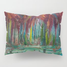 Red Trees Thick Impasto Abstract  Painting Pillow Sham