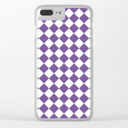 Diamonds - White and Dark Lavender Violet Clear iPhone Case