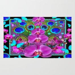 Decorative purple, Blue, Pink Orchids Butterflies Peacock Eyes Rug