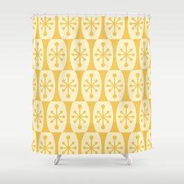 Mid Century Modern Atomic Fusion Pattern 335 Yellow on Yellow Shower Curtain