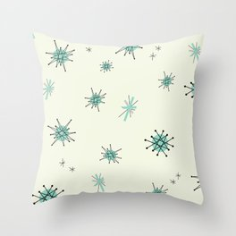 Mid Century Stars Retro Vintage Pattern Throw Pillow